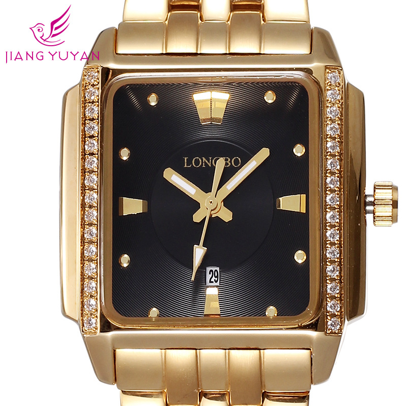 LONGBO Luxury Brand Auto Date Waterproof Gold Crystal Watch Women Fashion Business Dress Quartz Watches Lady
