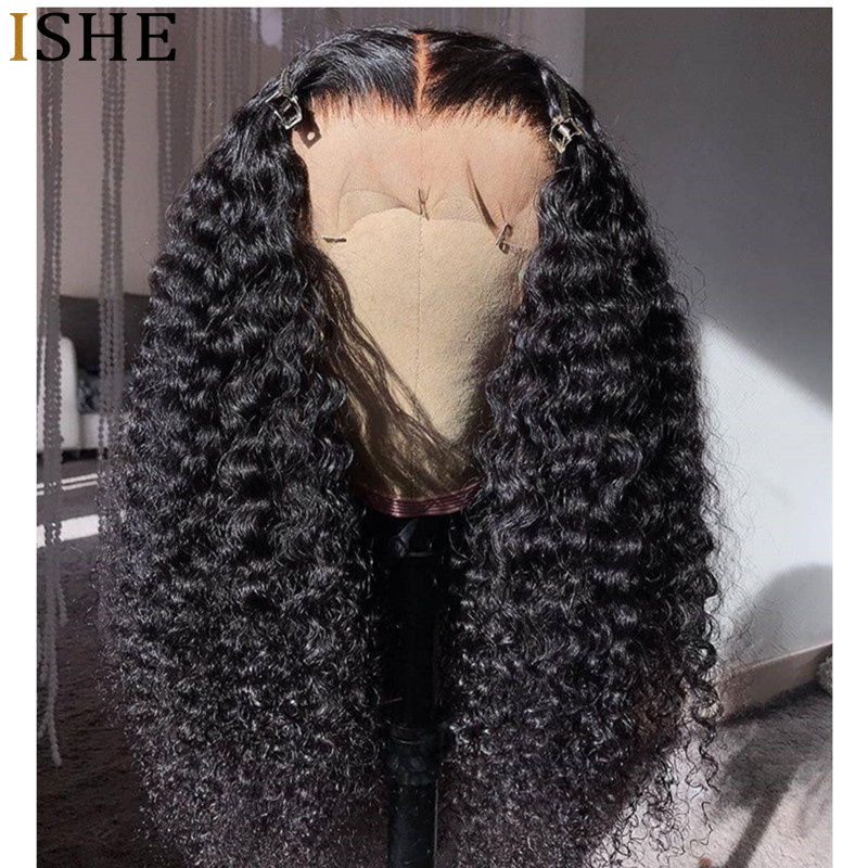 360 Lace Frontal Wig Kinky Curly Short Wigs 13x6 Deep Front Lace Remy Human Hair Preplucked Long Wigs Black Full End For Women(China)