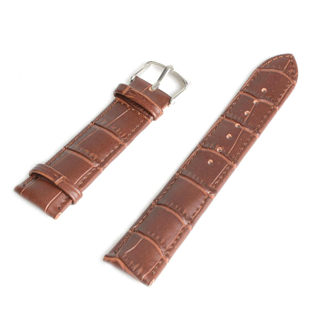 22mm Durable Brown Genuine Leather Watch Band Strap Alloy Buckle Watchband SB0521