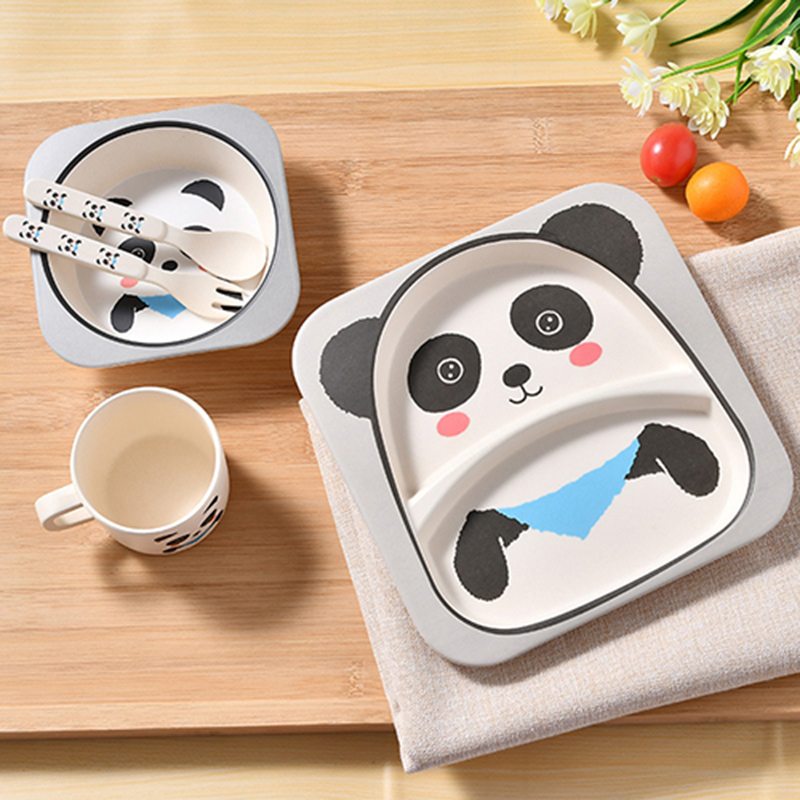 5 Pcs/Set Baby Bamboo Fiber Tableware Children Dinner Cartoon Plate Bowl Fork Spoon Cup Feeding Set Supplier Food Dish Panda