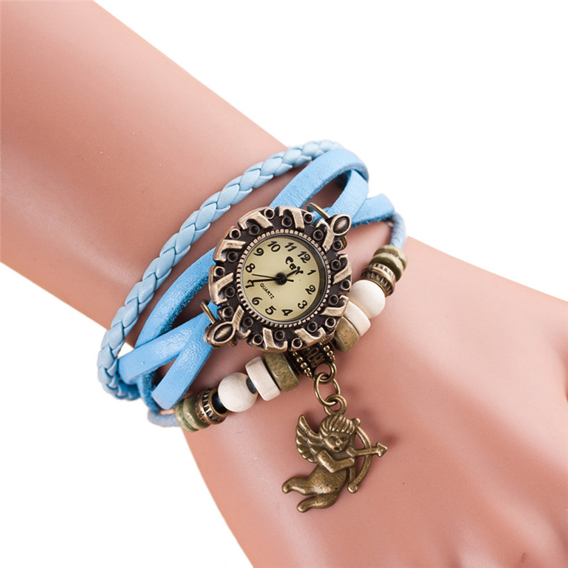 Relojes Mujer 2017 Fashion Quartz Watch Weave PU Leather Band Key Bracelet Women Casual Wrist Watch feminino masculino Ma2
