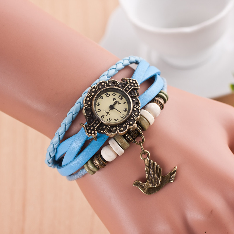 The flying bird Pendant Leather Strap font b Wooden b font beads decoration Retro Casual font