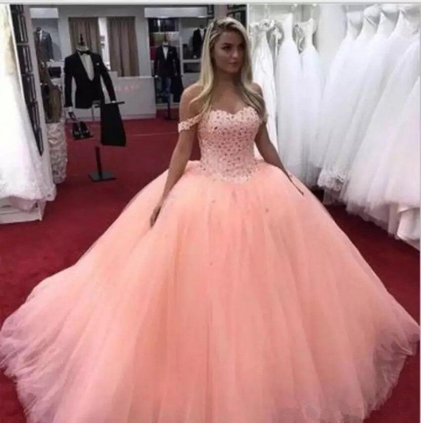 2019 Ballkleid Quinceanera Kleider Off Schulter Sweep Zug Großen Perlen Party Prom Kleider Für Süße 16 Kleider Vestidos De 15