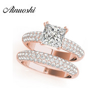 AINUOSHI 925 Sterling Silver White Gold Color Bridal Ring Sets 1.5ct Sona Princess Cut Women Wedding Silver Ring Sets Jewelry