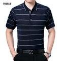 Мужские полосы Polo Рубашка Бренды Повседневная Твердые Anti-Wrinkle Polo Рубашки Одежда С Коротким Рукавом Шелк Формальный Бизнес дела Плюс размер