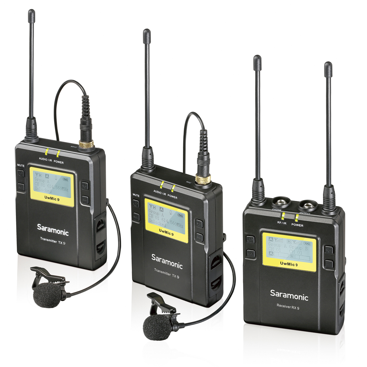 Saramonic UWMIC9 Broadcast UHF Camera Wireless Lavalier Microphone System Two Transmitters One Receiver for Canon DSLR Camcorder saramonic uwmic9 broadcast uhf camera wireless stage interview micphone system transmitters one receiver for dslr camcorder