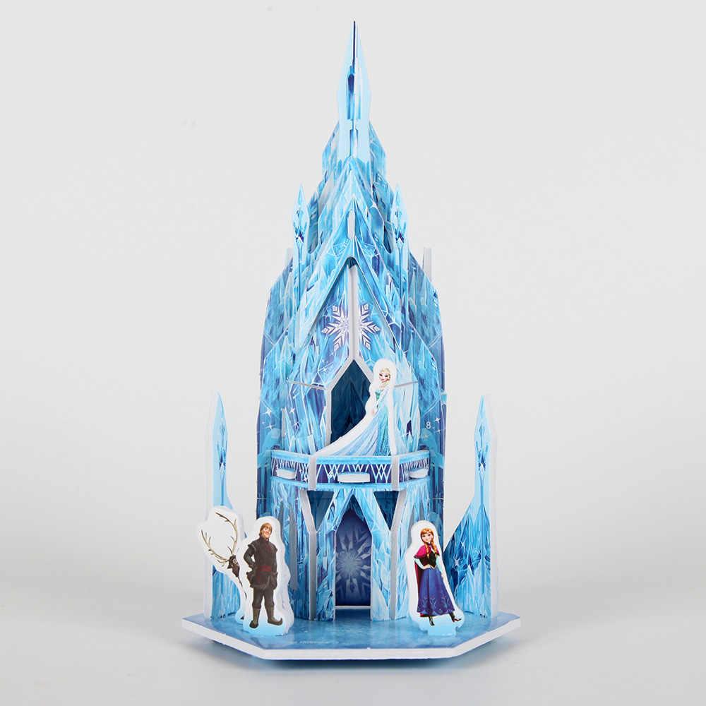 3D DIY Disney Frozen ปริศนาจิ๊กซอว์ของเล่นเด็กวันเกิดของขวัญวัสดุเด็กปริศนาปราสาท