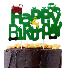 Omilut Construction Tractor Cake Topper Farm Theme Vehicle Happy Birthday Banner Party Decoration