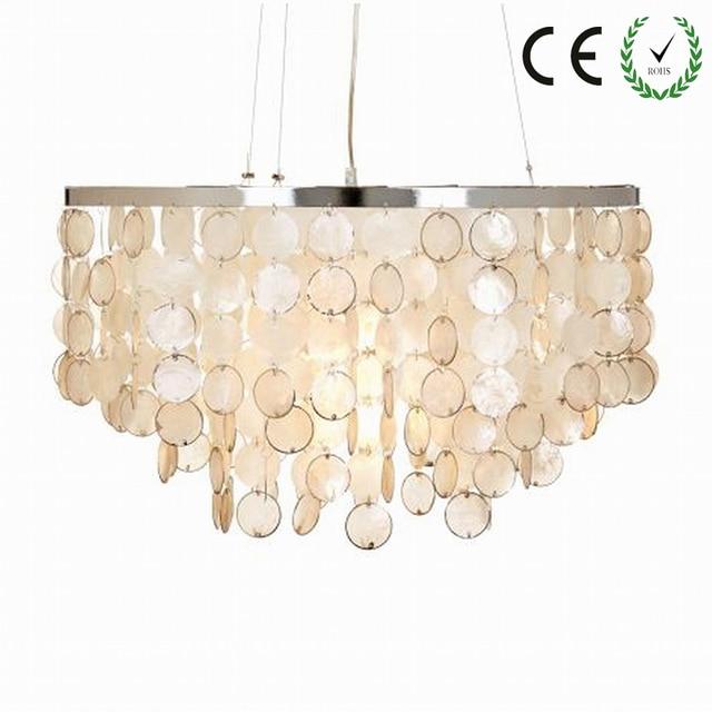 modern white shiny capiz seashell lamp lampshade lustres pendant