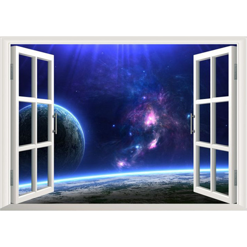 Magic Outer Space False Window Wall Stickers Beautiful Starry Sky 3d Vinyl  Decals For Kids Rooms