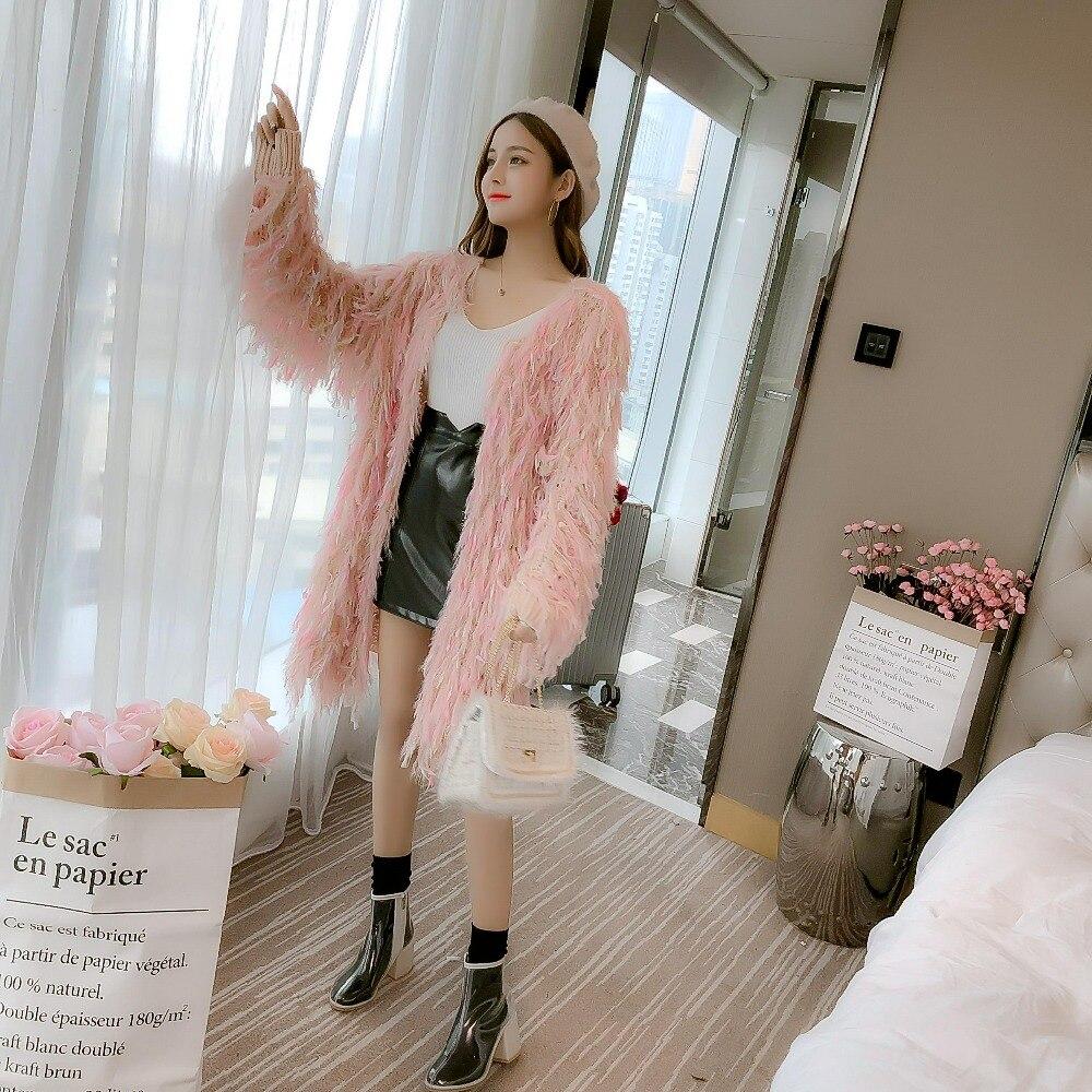 New Furry Aperto E Lurex Delle Oro Maglioni Colorate Apricot Punto Cardigan Nappe Donne Autunno Femminile Pigro Di pink black Allentato Cakucool Cappa Coreano Maglie dqxZwEfd