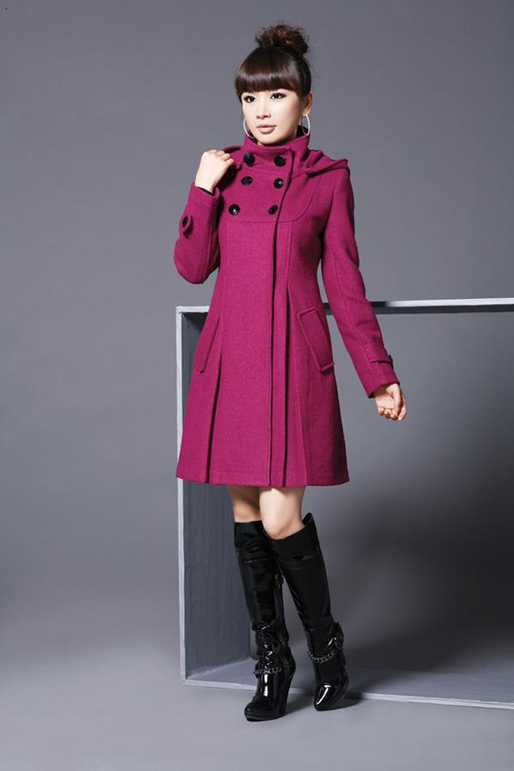 Elegant Coat for Women Pockets Casual Hooded Wool Coat and Jacket Solid Autumn Winter Women Clothes 2018 Plus Size 3XL 4XL 9