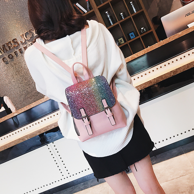 Women PU Leather Back Pack Backpack Sequins Small Backpacks For Girls Gold Bag Female Bagpack Design