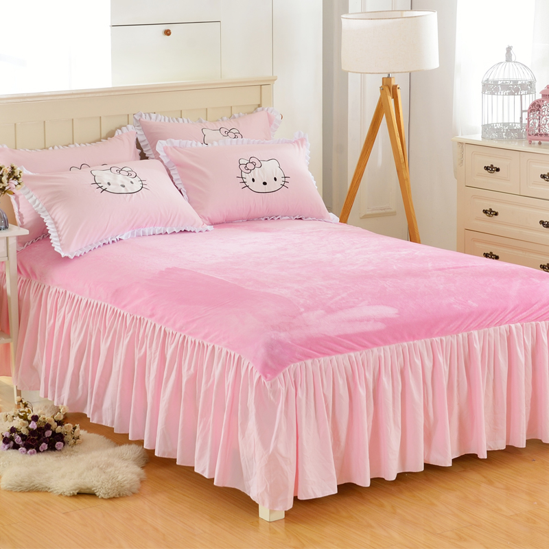 Winter Flannel Warm Bed Skirt Thicken Cover Sheets Lace Bedspread Sheet Soft C Velvet In From Home