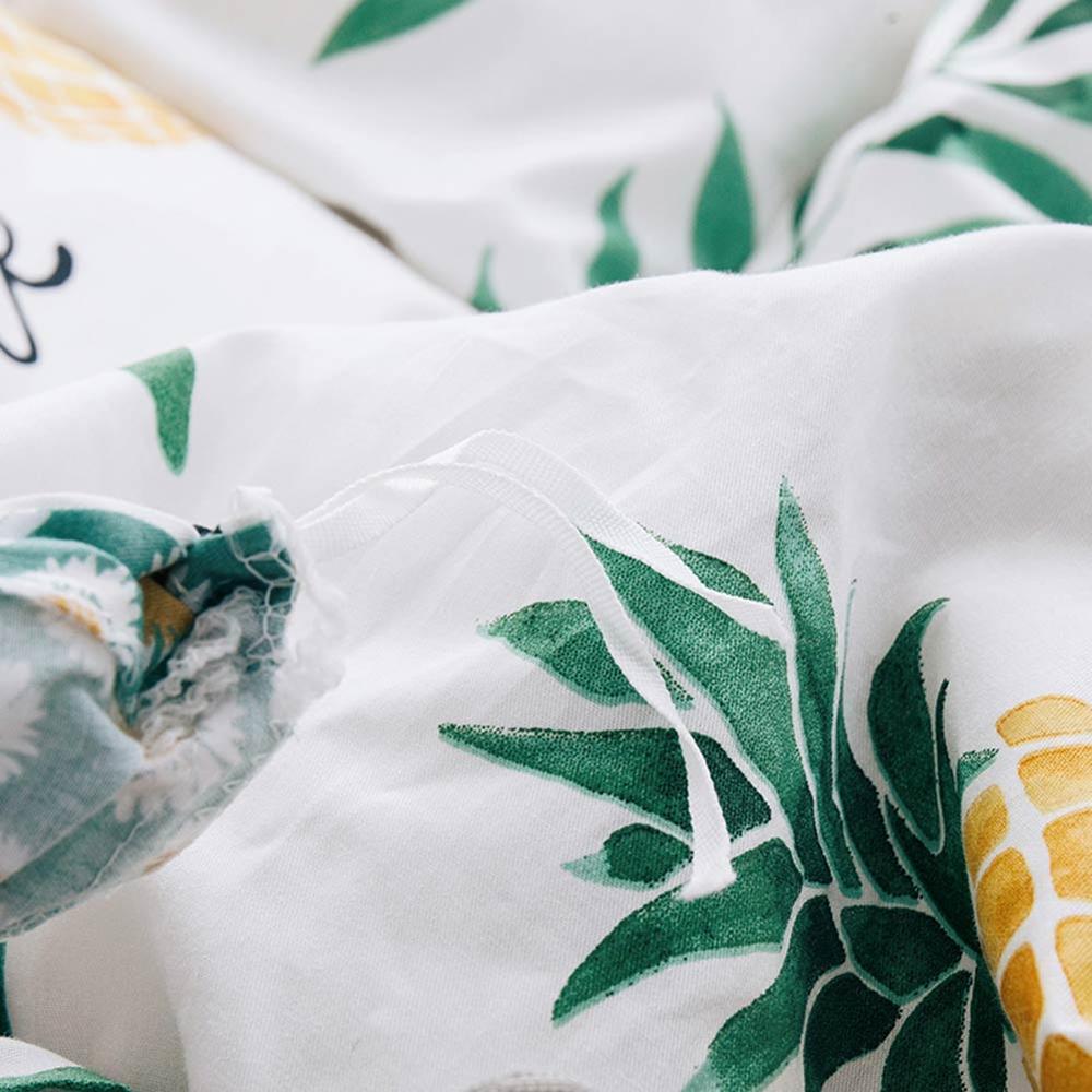 2019 Verde Foglie di Colore Giallo Ananas Copripiumino Twin Set Queen King Size Biancheria Da Letto In Cotone Set Piatto Copriletto Farmi Deliziare Copriletto-in Completi letto da Casa e giardino su  Gruppo 3