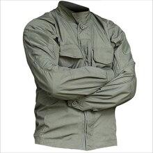 2019 ทหารยุทธวิธีแขนยาวลวงตาผู้ชายฤดูใบไม้ผลิฤดูร้อนเสื้อกองทัพทหารต่อสู้หลายกระเป๋าชุด