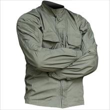 2019 Askeri Taktik Uzun Kollu Kamuflaj Gömlek Erkekler Bahar Yaz Kargo Gömlek Ordu Askerleri Savaş Çok Cepli Üniforma