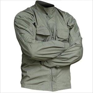Image 1 - 2019 taktyczna wojskowa koszula w kamuflaż z długim rękawem mężczyźni wiosna lato koszula Cargo żołnierze sił zbrojnych walki multi kieszenie jednolite