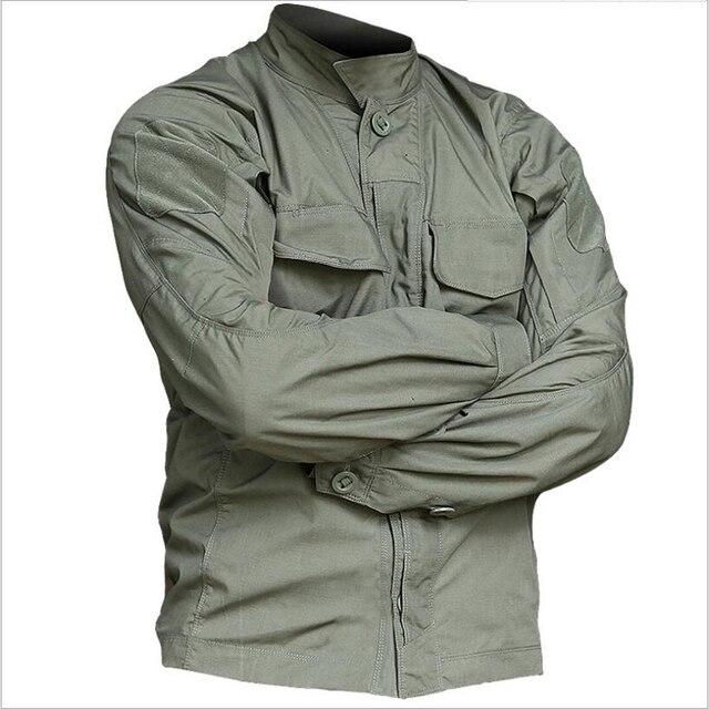 2019 taktyczna wojskowa koszula w kamuflaż z długim rękawem mężczyźni wiosna lato koszula Cargo żołnierze sił zbrojnych walki multi kieszenie jednolite