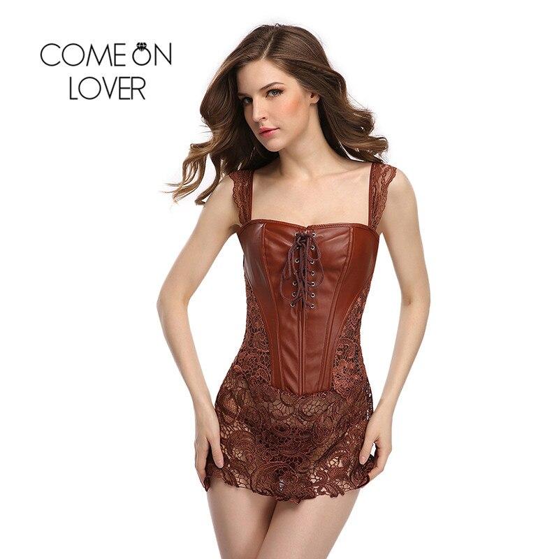 Comeonlover S-6XL Plus Size Corset Faux Leather&Lace Steampunk Corset Dress  Gothic Bustier Corset ...