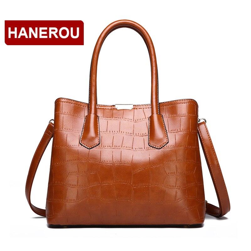 Delle Del Mano Cuoio Lusso Marca Nero Capacità Principale Borse Di Bags  Tote Sac Donne brown Il grigio Coccodrillo ... d05da3319aa