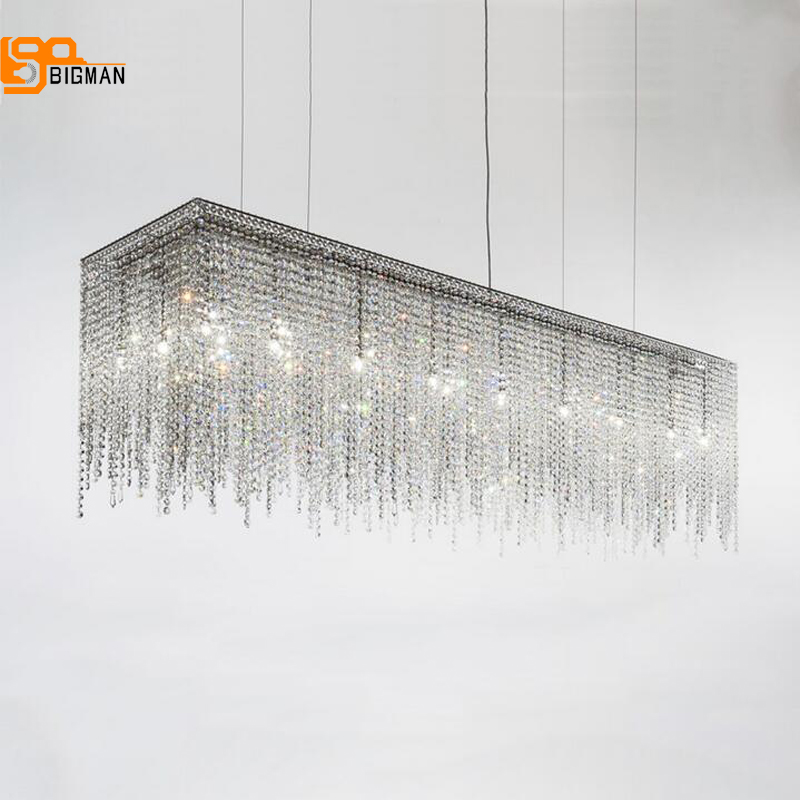 new design long crystal chandelier LED light length 100cm lustre moderne lampadario dinning room living room