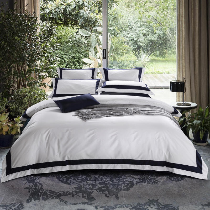 Hotel White Luxury Egyptian Cotton Bedding Set Queen King Size Duvet Cover Fitted Flat Sheet Pillowcases