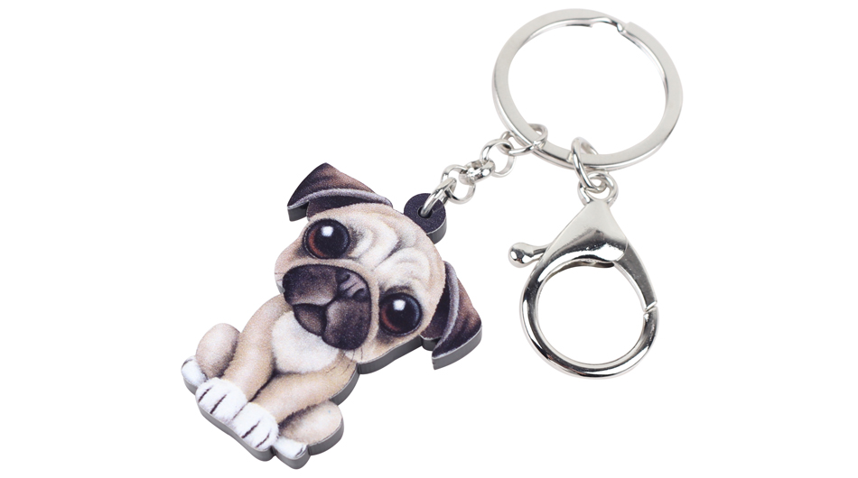 5aaddb5b810 Acrylic Cartoon Lovely French Bulldog Pug Dog Key Chains Keyrings ...