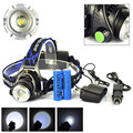 led Headlight waterproof zoom 18650 Headlamp Cree XM-L T6 led 2000LM rechargeable Head lamp light +2x 18650 battery +Charger