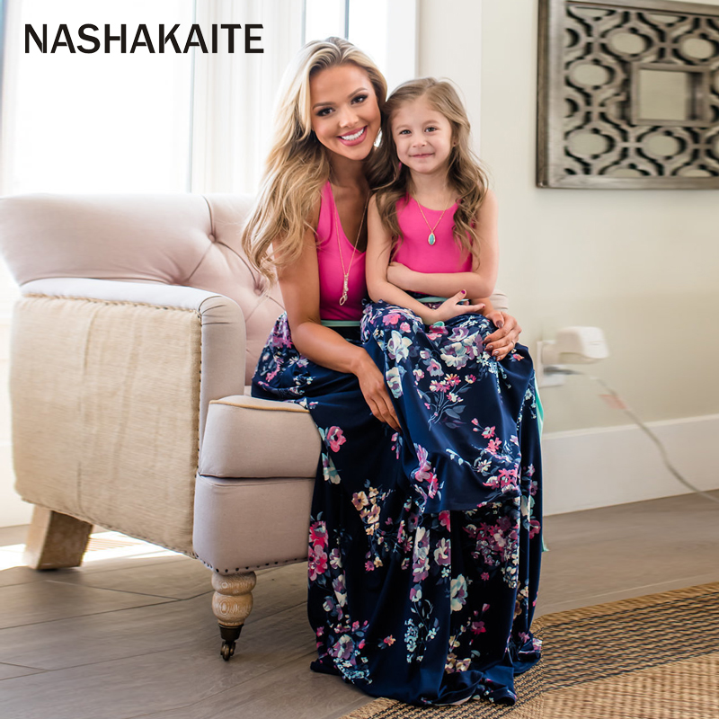 HTB1aBBPacfrK1RkSmLyq6xGApXa6 - NASHAKAITE Mother daughter dresses Floral Printed Long Dress Mommy and me clothes Family matching clothes Mom and daughter dress