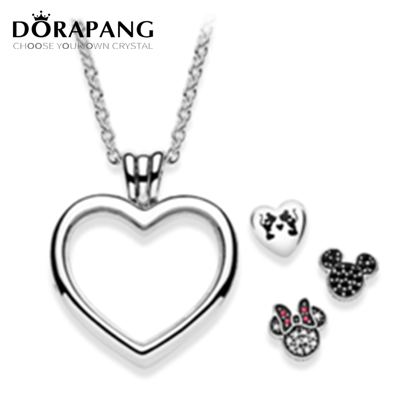 DORAPANG HOT Sell 925 Sterling Silver Pendant Magnetic DIY Chain Memory Floating Locket Hallowmas Lovely Charms Necklace jewelry authentic 100% 925 sterling silver round power box petite memories long chain necklace floating locket necklace diy jewelry