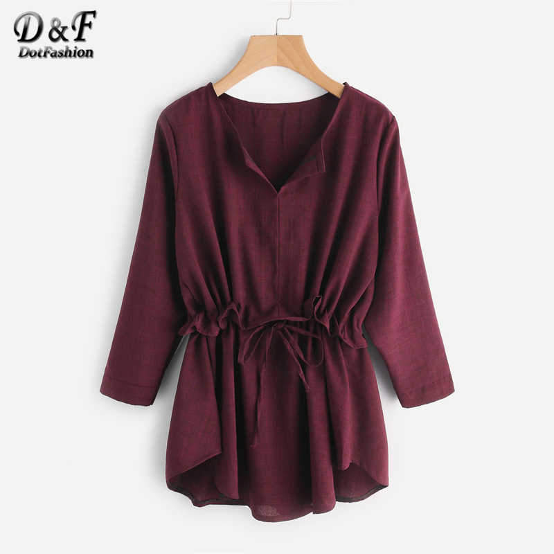 f13c1ccdcc Dotfashion Drawstring Waist Frill Plain Blouse 2019 New Female Autumn  Burgundy V Neck Tunic Top Long