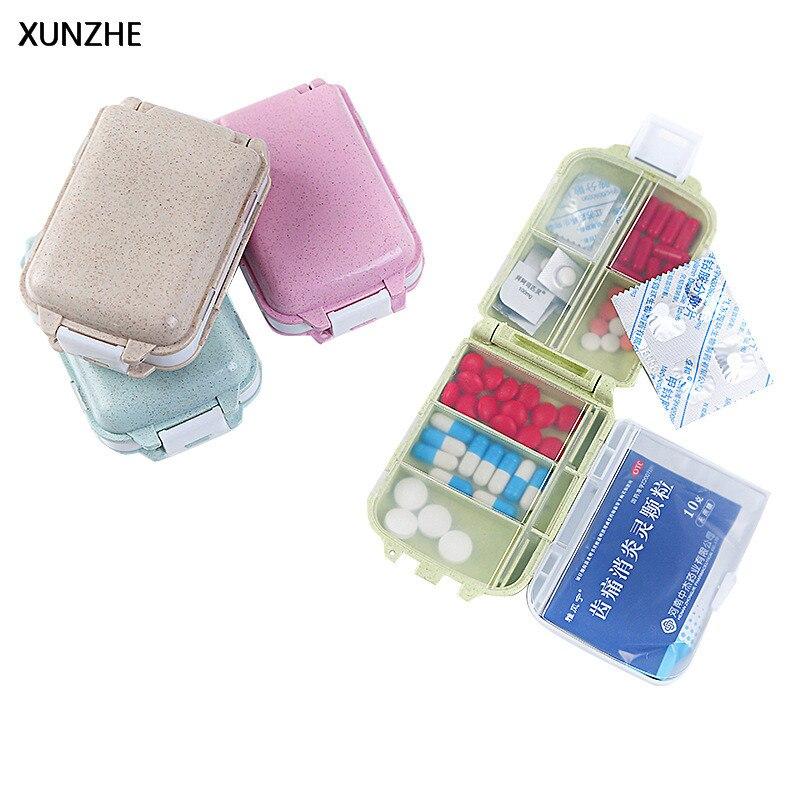XUNZHE мини складной Multi-Функция ящик для хранения 8 сетки Портативный путешествия двойной Слои Pill Box Одна неделя Классификация Medicine коробка