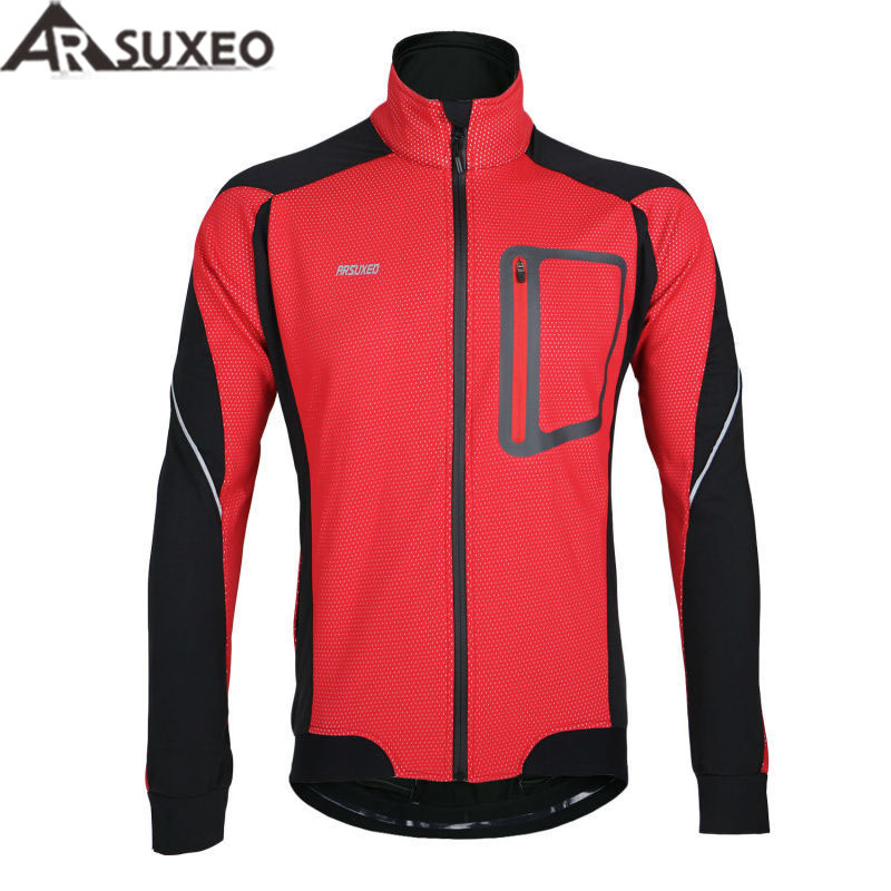 ARSUXEO 2017 Winter Warm Up Thermal Cycling Jacket Bicycle Clothing Windproof Waterproof Jersey  MTB Mountain Bike Jacket 14D wosawe new raincoat cycling jacket waterproof windproof outerwear running mtb bike bicycle rain jackets jersey cycling clothing