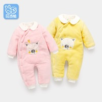 Autumn new born baby clothes Coral wool insulation romper infant clothes baby Leopard zebra pattern Cute cartoon pig romper