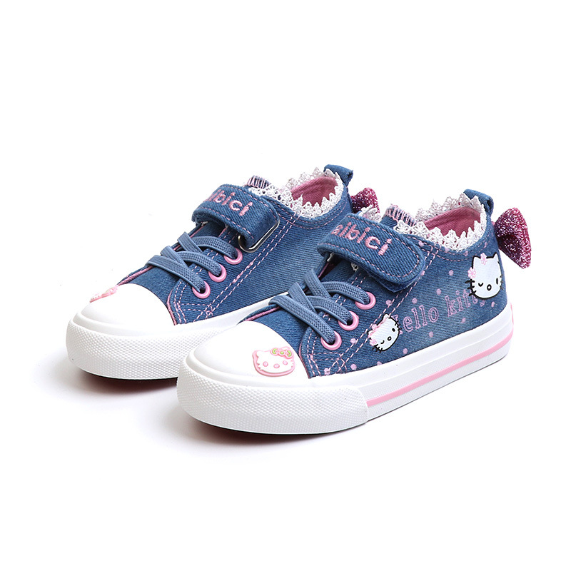 Baby girls shoes Cartoon Hello kitty Elsa Anna Bow Princess Denim Casual Sport Shoes Breathable Canvas Girl Sneakers kids shoes elsa shoes сандалии