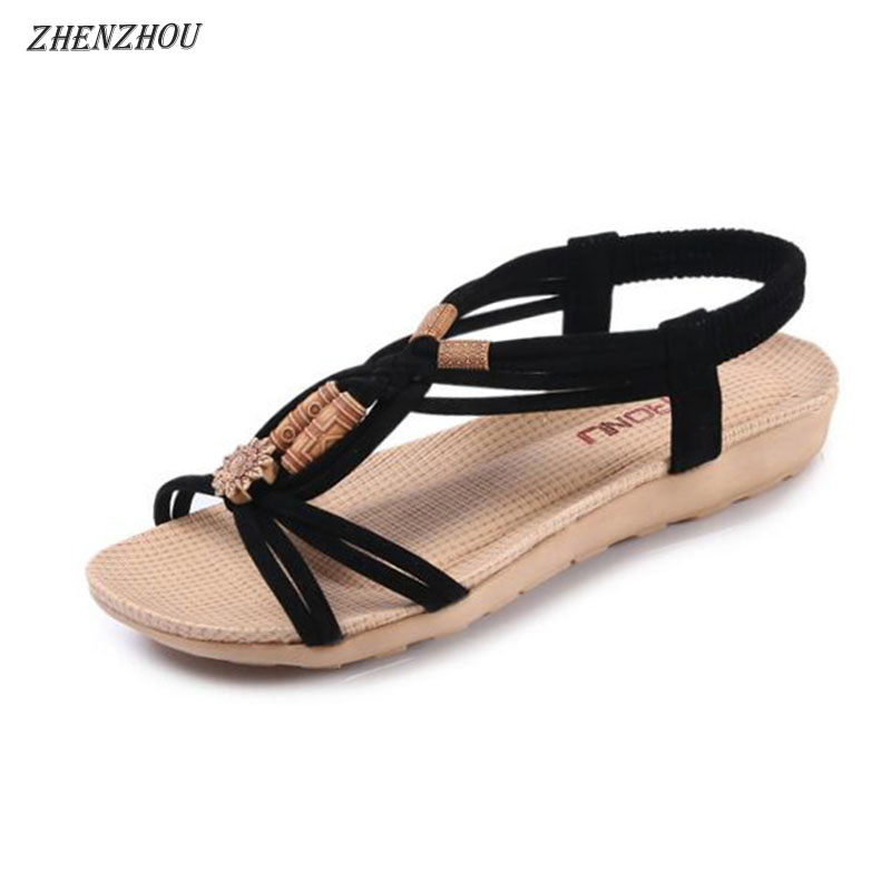 ZHENZHOU Free shipping Sandal women's new 2018 summer Bohemian flat fish-beaded sandals are hand-woven with Roman sandals. цена 2017