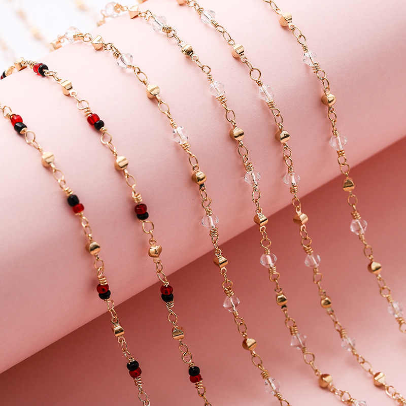 Clear Red Beads Chains Handmade Jewelry Copper Women Necklace Chain For DIY Women Jewelry 5m/roll Wholesale