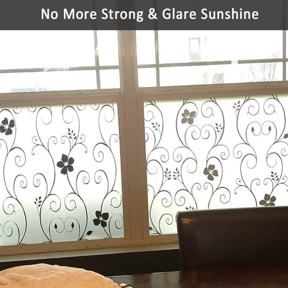 Multi sizes Decorative Window Film Black Flower Self adhesive Privacy Door Glass Sticker Heat Control Anti UV for Office Home in Decorative Films from Home Garden