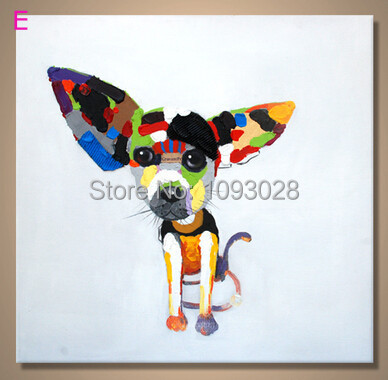 handpainted manual drawing hot sale free shipping big ear dog painting canvas wall art deco painting