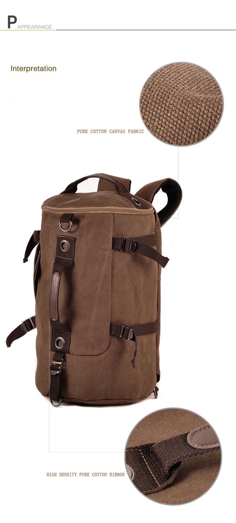 Men's Multi-Functional Backpack Vintage Shoulder Bag High Quality Canvas Male Bagpack Rucksack Travel Luggage for Weekend 27