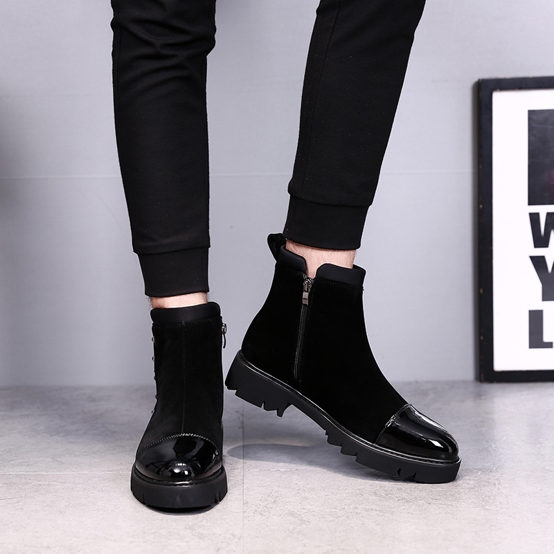 Black boots male British Martin Boots Men winter with cashmere boots and high shoes men leisure boots