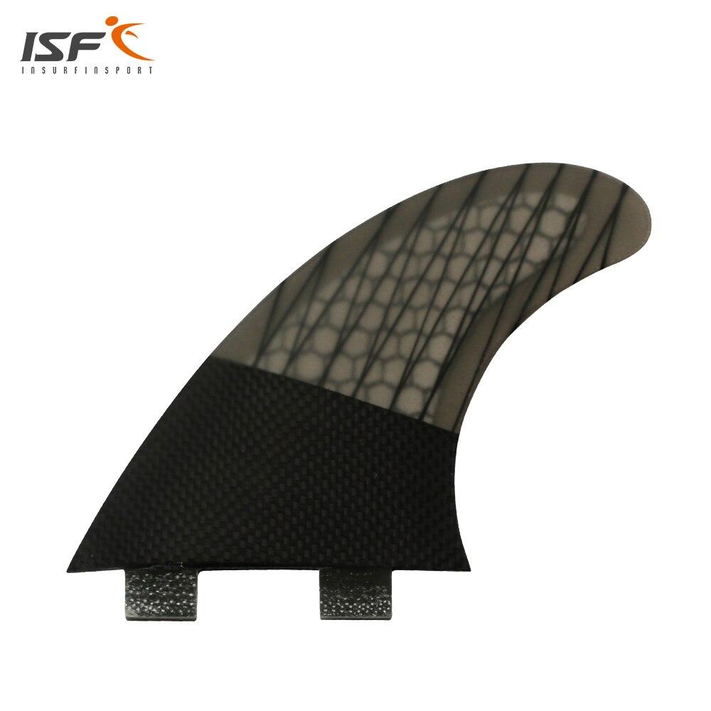 Good quality carbon fiber honeycomb black fcs fins G5 quilhas surf fins paddel surfing thruster barbatanas de surf 3 piece