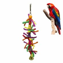 Parrot Toys Hanging Bell Cage Toys for Parrots Bird Squirrel Funny Chain Swing Toy Pet Bird Supplies Swing Climb Chew Toys(China)