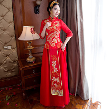 Plus Size 3XL Chinese Traditional Wedding Dress Cheongsam Long Red Qipao Embroidery Robe Oriental Style Dresses Bride Traditions
