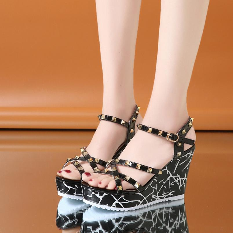 Summer Lady Fashion Wedge High Heels Sandals Elegant Rivets Women Heels Fashion Platform High Heels Wedge Sandals Female Shoes 16