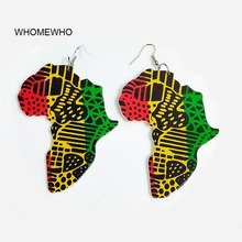 WHOMEWHO Silver Metal Africa Map Wood Native African Colorful Painting Earrings Bollywood Vintage Jewelry Wooden DIY Accessory