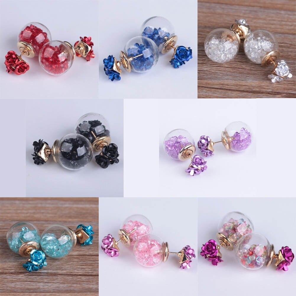 Fashion Korea Rose Flower Earrings Glass Crystal Ball Double Sided Stud Earrings Women Fine Jewelry Pierced Earrings