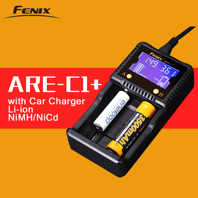 Original Fenix ARE-C1+ Intelligent Battery Charger Support AC DC Charging 2 Slots Smart Charger for Li-ion Ni-MH Ni-Cd 18650 AAA цена