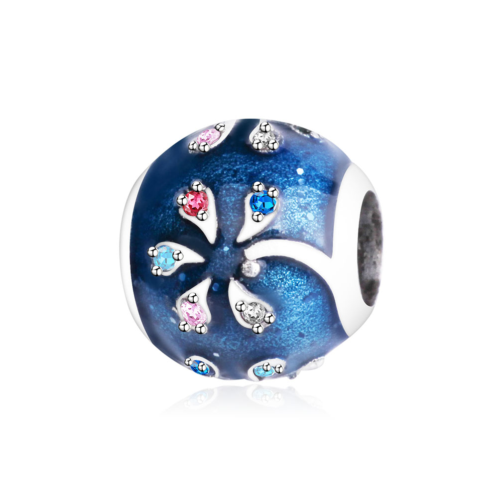 Blue Enamel Round Tree Chamr Bead With Mix CZ Fit Original Pandora Charms Bracelet DIY Jewelry Making 925 Sterling Silver Beads